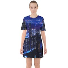 Night City Dark Sixties Short Sleeve Mini Dress