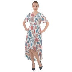 Leaves Art Pattern Front Wrap High Low Dress by Vaneshart