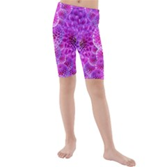 Nature Blossom Plant Flower Purple Petal Bloom Pattern Pollen Pink Flora Flowers Dahlia Design Beaut Kids  Mid Length Swim Shorts