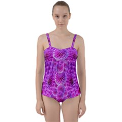 Nature Blossom Plant Flower Purple Petal Bloom Pattern Pollen Pink Flora Flowers Dahlia Design Beaut Twist Front Tankini Set