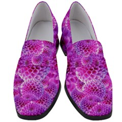 Nature Blossom Plant Flower Purple Petal Bloom Pattern Pollen Pink Flora Flowers Dahlia Design Beaut Women s Chunky Heel Loafers