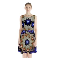 Light Abstract Structure Star Pattern Toy Circle Christmas Decoration Background Design Symmetry Sleeveless Waist Tie Chiffon Dress