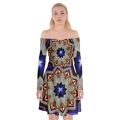Light Abstract Structure Star Pattern Toy Circle Christmas Decoration Background Design Symmetry Off Shoulder Skater Dress