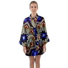Light Abstract Structure Star Pattern Toy Circle Christmas Decoration Background Design Symmetry Long Sleeve Satin Kimono