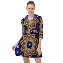 Light Abstract Structure Star Pattern Toy Circle Christmas Decoration Background Design Symmetry Mini Skater Shirt Dress by Vaneshart