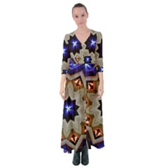 Light Abstract Structure Star Pattern Toy Circle Christmas Decoration Background Design Symmetry Button Up Maxi Dress