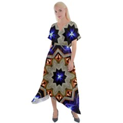 Light Abstract Structure Star Pattern Toy Circle Christmas Decoration Background Design Symmetry Cross Front Sharkbite Hem Maxi Dress