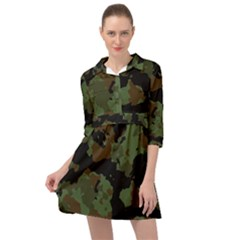 Beautiful Army Camo Pattern Mini Skater Shirt Dress