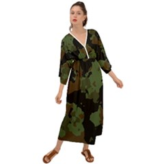 Beautiful Army Camo Pattern Grecian Style  Maxi Dress
