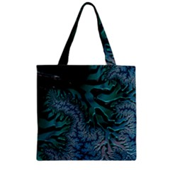 Creative Wing Abstract Texture River Stream Pattern Green Geometric Artistic Blue Art Aqua Turquoise Zipper Grocery Tote Bag by Vaneshart