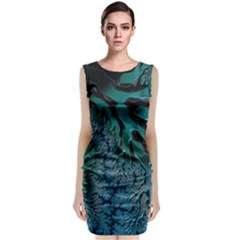 Creative Wing Abstract Texture River Stream Pattern Green Geometric Artistic Blue Art Aqua Turquoise Classic Sleeveless Midi Dress