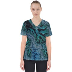Creative Wing Abstract Texture River Stream Pattern Green Geometric Artistic Blue Art Aqua Turquoise Women s V Neck Scrub Top