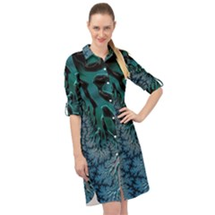 Creative Wing Abstract Texture River Stream Pattern Green Geometric Artistic Blue Art Aqua Turquoise Long Sleeve Mini Shirt Dress
