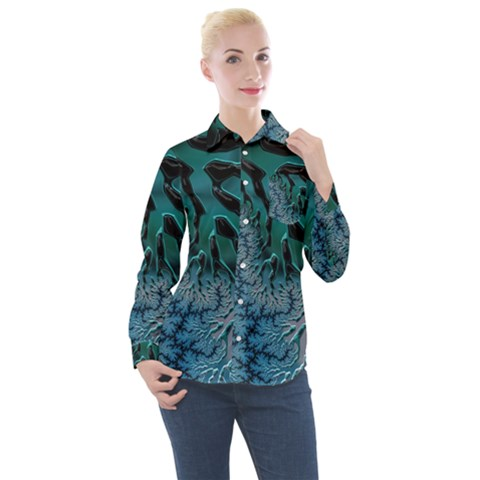 Creative Wing Abstract Texture River Stream Pattern Green Geometric Artistic Blue Art Aqua Turquoise Women s Long Sleeve Pocket Shirt by Vaneshart