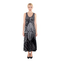 Black And White Plant Leaf Flower Pattern Line Black Monochrome Material Circle Spider Web Design Sleeveless Maxi Dress by Vaneshart
