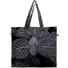 Black And White Plant Leaf Flower Pattern Line Black Monochrome Material Circle Spider Web Design Canvas Travel Bag