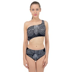 Black And White Plant Leaf Flower Pattern Line Black Monochrome Material Circle Spider Web Design Spliced Up Two Piece Swimsuit by Vaneshart