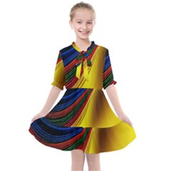 Abstract Spiral Wave Line Color Colorful Yellow Paper Still Life Circle Font Illustration Design Kids  All Frills Chiffon Dress