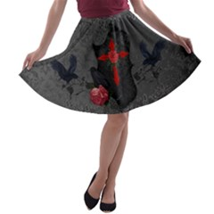 The Crows With Cross A-line Skater Skirt by FantasyWorld7