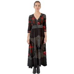 The Crows With Cross Button Up Boho Maxi Dress by FantasyWorld7