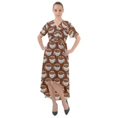 Coffee On Coffee Front Wrap High Low Dress