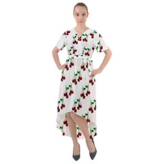 Cherries Pattern Front Wrap High Low Dress