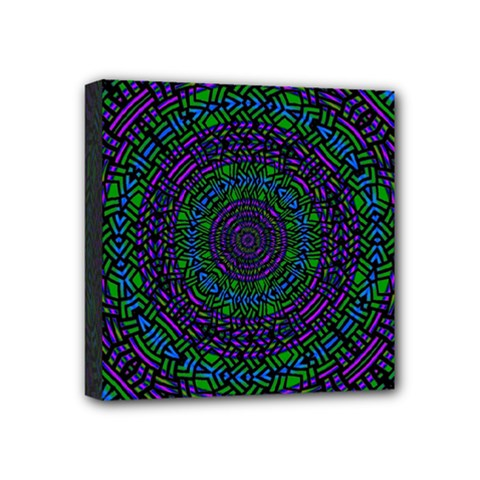 Texture Pattern Line Colorful Circle Art Background Design Decorative Symmetry Style Shape  Mini Canvas 4  X 4  (stretched)
