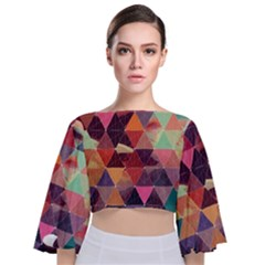 Geometric Pattern Art Tie Back Butterfly Sleeve Chiffon Top