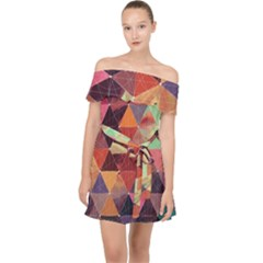 Geometric Pattern Art Off Shoulder Chiffon Dress