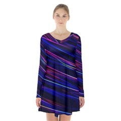 Nightlife Neon Techno Black Lamp Motion Green Street Dark Blurred Move Abstract Velocity Evening Tim Long Sleeve Velvet V Neck Dress