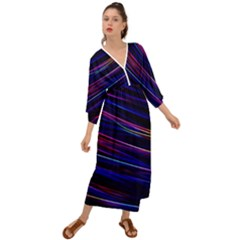 Nightlife Neon Techno Black Lamp Motion Green Street Dark Blurred Move Abstract Velocity Evening Tim Grecian Style  Maxi Dress