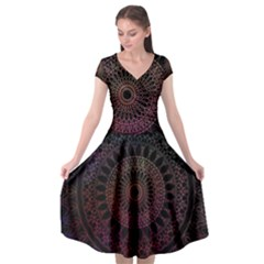 Mandala Fractal Pattern Cap Sleeve Wrap Front Dress