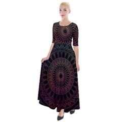 Mandala Fractal Pattern Half Sleeves Maxi Dress