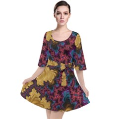 Creative Abstract Structure Texture Flower Pattern Black Material Textile Art Colors Design  Velour Kimono Dress
