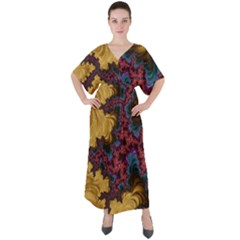 Creative Abstract Structure Texture Flower Pattern Black Material Textile Art Colors Design  V-neck Boho Style Maxi Dress