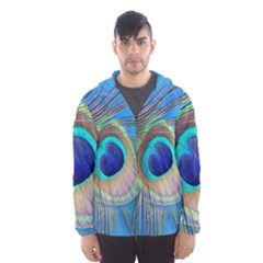 Nature Bird Wing Texture Animal Male Wildlife Decoration Pattern Line Green Color Blue Colorful Men s Hooded Windbreaker