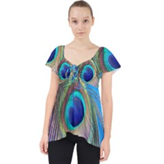 Nature Bird Wing Texture Animal Male Wildlife Decoration Pattern Line Green Color Blue Colorful Lace Front Dolly Top