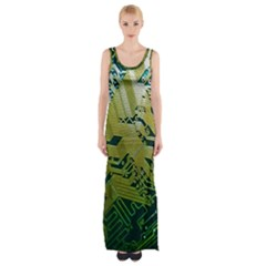 Laptop Computer Technology Leaf Line Green Biology Communication Electronics Illustration Informatio Thigh Split Maxi Dress