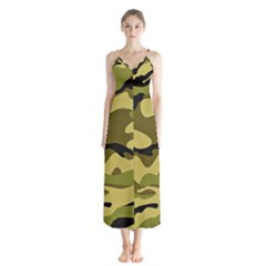 Fabric Army Camo Pattern Button Up Chiffon Maxi Dress by Vaneshart