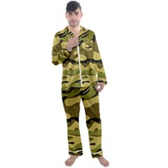 Fabric Army Camo Pattern Men s Satin Pajamas Long Pants Set