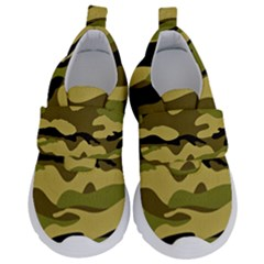 Fabric Army Camo Pattern Kids  Velcro No Lace Shoes by Vaneshart