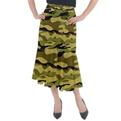 Fabric Army Camo Pattern Midi Mermaid Skirt