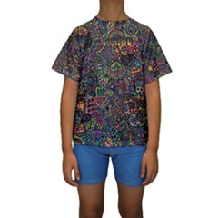 Awesome Abstract Pattern Kids  Short Sleeve Swimwear