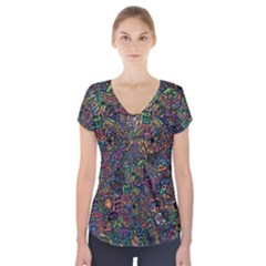 Awesome Abstract Pattern Short Sleeve Front Detail Top