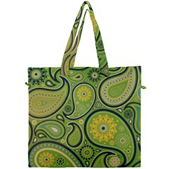 Texture Leaf Pattern Line Green Color Colorful Yellow Circle Ornament Font Art Illustration Design  Canvas Travel Bag