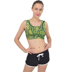 Texture Leaf Pattern Line Green Color Colorful Yellow Circle Ornament Font Art Illustration Design  V Back Sports Bra