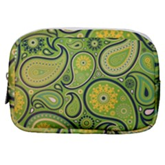 Texture Leaf Pattern Line Green Color Colorful Yellow Circle Ornament Font Art Illustration Design  Make Up Pouch (small)