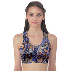 Vintage Retro Texture Decoration Pattern Color Circle Ornament Art Design Bright Symmetry Style  Sports Bra by Vaneshart