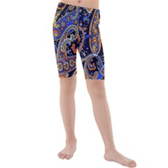 Vintage Retro Texture Decoration Pattern Color Circle Ornament Art Design Bright Symmetry Style  Kids  Mid Length Swim Shorts by Vaneshart