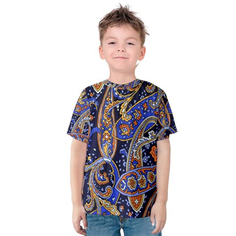 Vintage Retro Texture Decoration Pattern Color Circle Ornament Art Design Bright Symmetry Style  Kids  Cotton Tee by Vaneshart